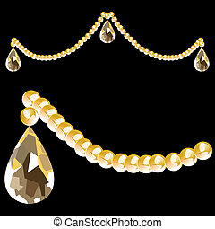 Crystal Beads and Teardrop - String of crystal beads and...