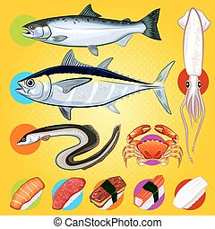 Japanese Sushi Fishes Sashimi - An Illustration Of Japanese...