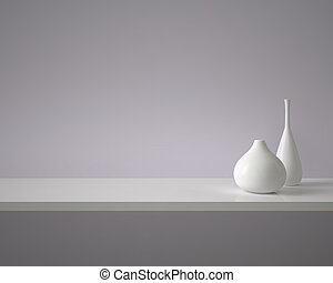 Two white ceramic vases stand on a shelf
