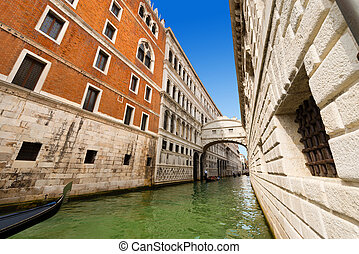 Bridge of Sighs - Venice Italy - Typical gondolas under the...