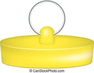 Rubber plug in yellow design on white background