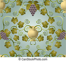 grape tile pattern design - Beautiful vine leaf and urn...