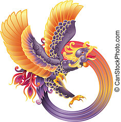 phoenix - An illustration of a beautiful phoenix in flight,...