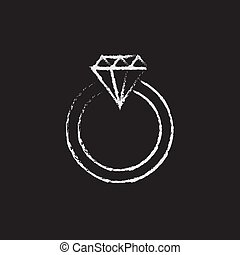 Diamond ring icon drawn in chalk. - Diamond ring hand drawn...