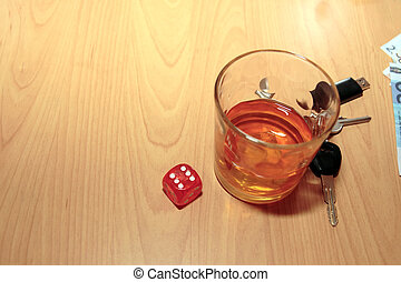 bourbon glass dice and keys - whiskey glass and keys and...