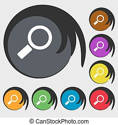 Magnifier glass sign icon. Zoom tool button. Navigation search symbol. Symbols on eight colored buttons. Vector