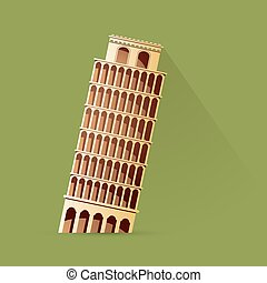 Leaning tower of Pisa as simple cartoon style drawing