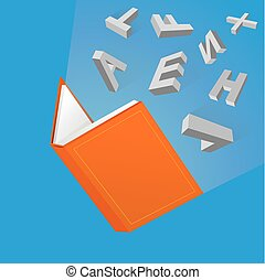 Open book cartoon drawing - Light of knowledge from open...