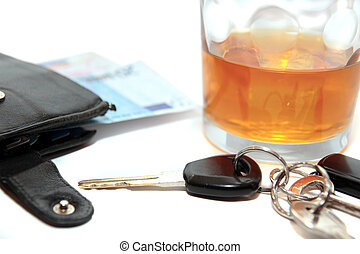 wallet whiskey car keys and euro cash - whiskey glass with...