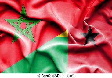 Waving flag of Guinea Bissau and Morocco