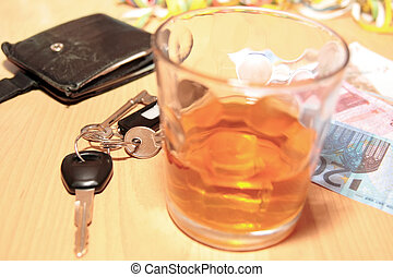 whiskey car keys and euro cash - wallet whiskey glass and...