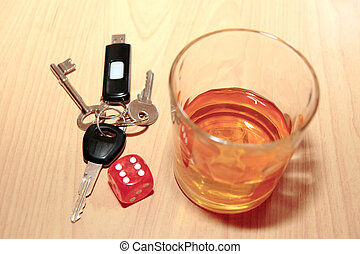 whiskey dice and keys - whiskey glass and keys and dice on...