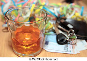 whiskey glass keys and cash - wallet whiskey glass and keys...