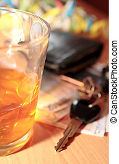 whiskey keys and cash - wallet whiskey glass and keys at...