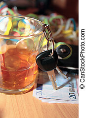 whiskey keys and euro money - wallet whiskey glass and keys...