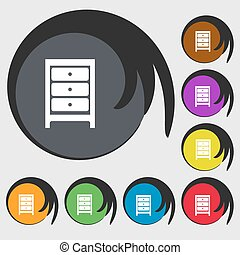Nightstand icon sign Symbols on eight colored buttons Vector...