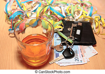 whiskey keys and money
