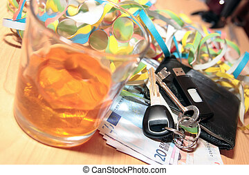 whiskey keys and paper money - wallet whiskey glass and keys...