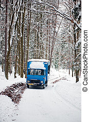 Old Soviet Truck - An old soviet truck driving on a snowy...
