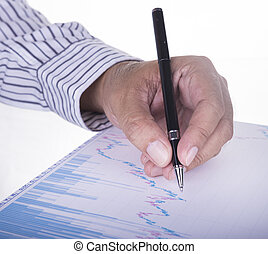 businessman analyzing data report