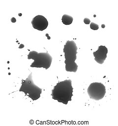 Drops of black ink on a white background