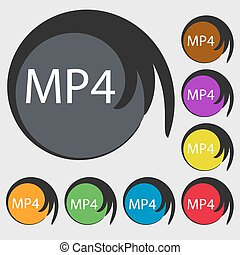 Mpeg4 video format sign icon. symbol. Symbols on eight colored buttons. Vector