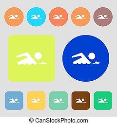 Swimming sign icon Pool swim symbol Sea wave 12 colored...