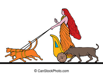 Freya Norse goddess of love and beauty riding a chariot...
