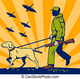Hunter with rifle walking with trained hunting gun dog -...