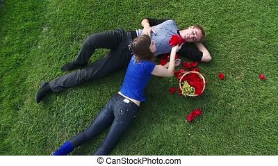 Romance - Two frame Moving camera Couple relaxing in nature...