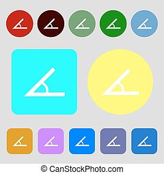 Angle 45 degrees icon sign 12 colored buttons Flat design...