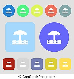 Sandbox icon sign 12 colored buttons Flat design Vector -...