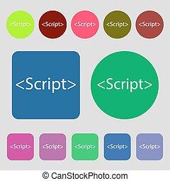 Script sign icon. Javascript code symbol. 12 colored...