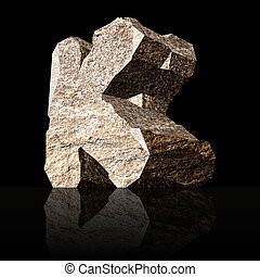 stone letter K - image of the three-dimensional stone letter...