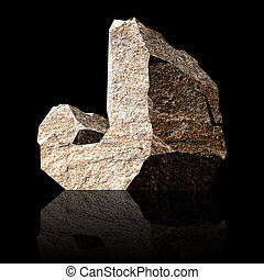 stone letter J - image of the three-dimensional stone letter...