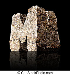 stone letter M - image of the three-dimensional stone letter...