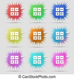 Multiplication, division, plus, minus icon Math symbol Mathematics. Nine original needle buttons. Vector