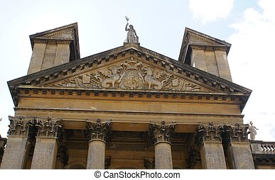 Blenheim Palace in England, UK - Pediment above the front...