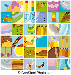 African Random Color Block Collage with Animals