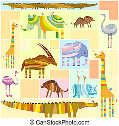 African Animals Tetris Collage Low Color