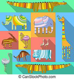 lakás, állhatatos, állatok, afrikai, ikonok