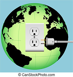 ENERGIZE EARTH electric plug in outlet Energy Globe -...