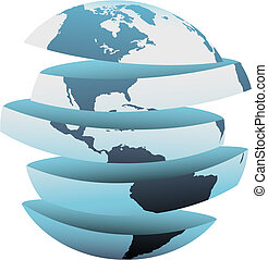 Earth slice America cut up globe pieces - An earth globe...