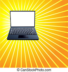 Laptop Computer on Bright Shiny Yellow Rays Background