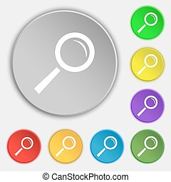 Magnifier glass sign icon. Zoom tool button. Navigation search symbol. Symbols on eight flat buttons. Vector
