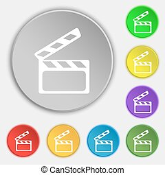 Cinema Clapper  sign icon. Video camera symbol. Symbols on eight flat buttons. Vector