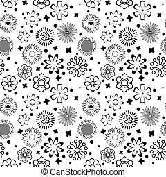 Black and white vector intricate pattern of flowers