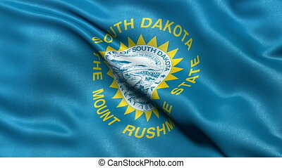 South Dakota state flag loop - Realistic South Dakota state...