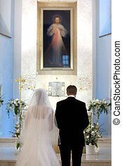 Catholic wedding ceremony in a church