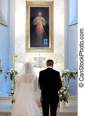 Catholic wedding ceremony in a church